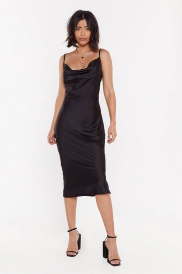 Black Cowl Satin Midi Dress with Bias Cut Hem