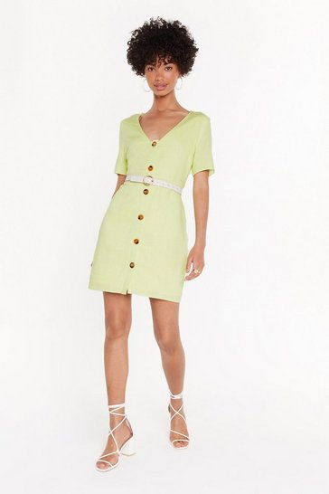 Womens Lime Button in Mini Dress