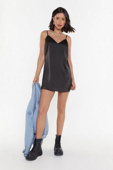 Black A Lil Fancy Satin Mini Dress