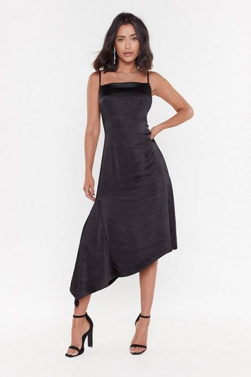 Womens Black It's All Satin-ing Aysmmetric Midi Dress