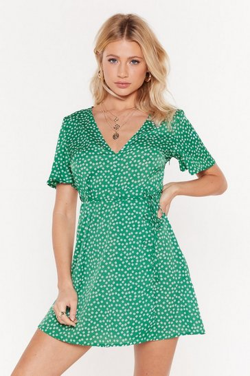 Green Let's Go Daisy Wrap Tea Dress