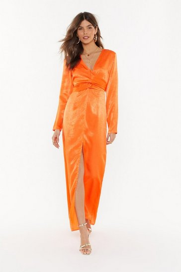 Womens Orange Maxi Tie Waist Plunge Dress