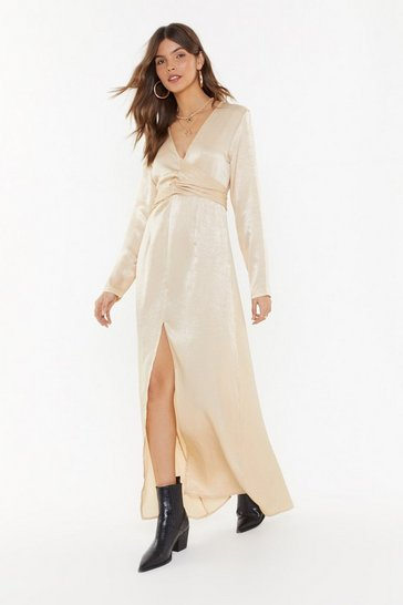 Womens Cream How About Bow Satin Maxi Dress