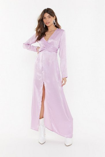 Womens Lavender How About Bow Satin Maxi Dress
