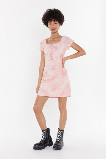 Womens Coral Tie Dye Tongue Tied Mini Dress