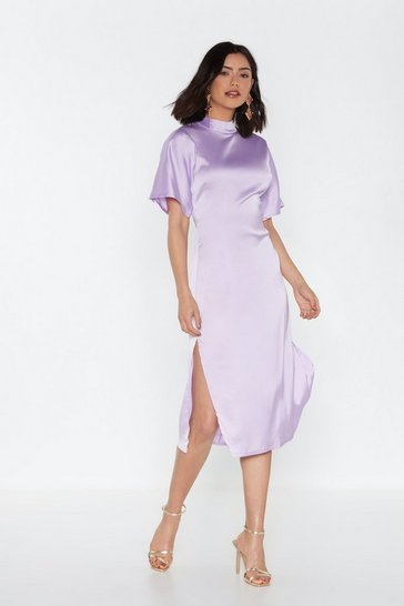 Womens Lavender Love is in the Air Satin Midi Dress