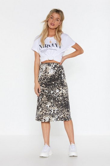 Womens Black Go Wild Animal Midi Skirt