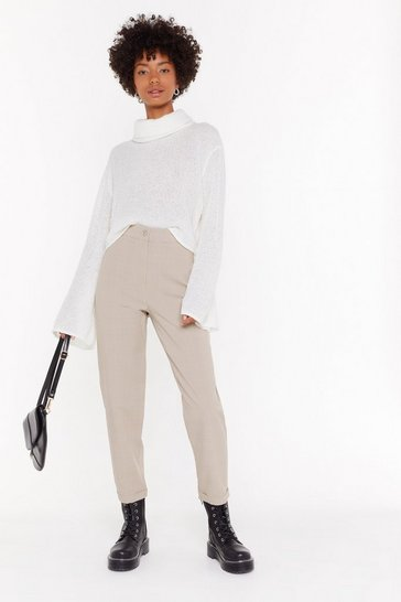 Womens Beige Check Turn Up Tapered Pants