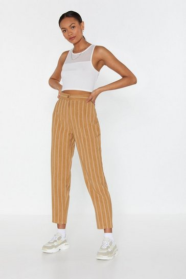 Womens Mustard Let's Get One Thing Straight Striped Trousers