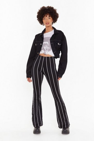 Black Flare's Nothing to It Striped Flare Pants