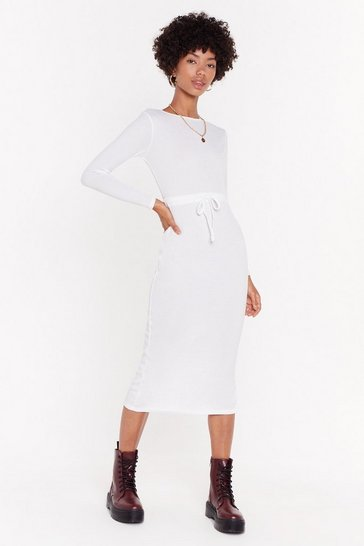 Womens Ecru Draw Cord Waist Midi Dress