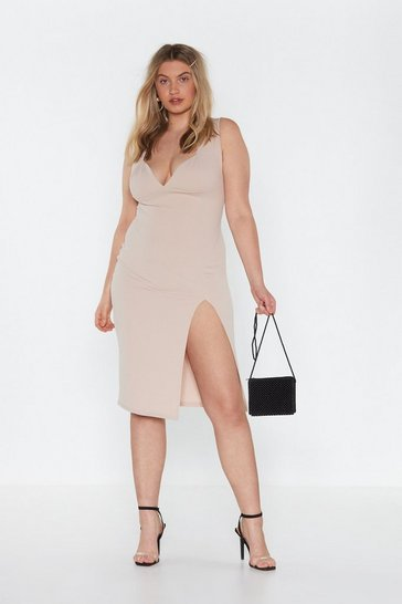 Womens Stone Plunge Down Midi Dress