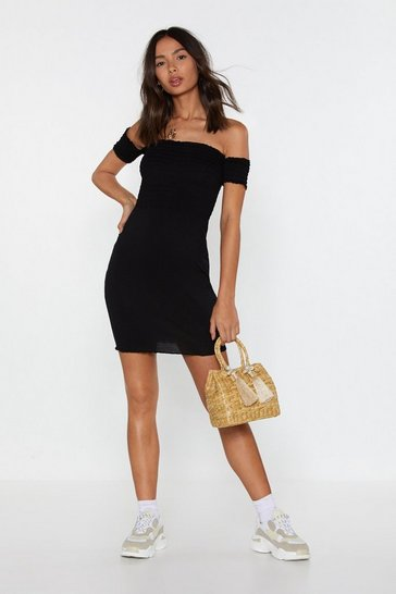 Womens Black Move Off-the-Shoulder Shirred Dress