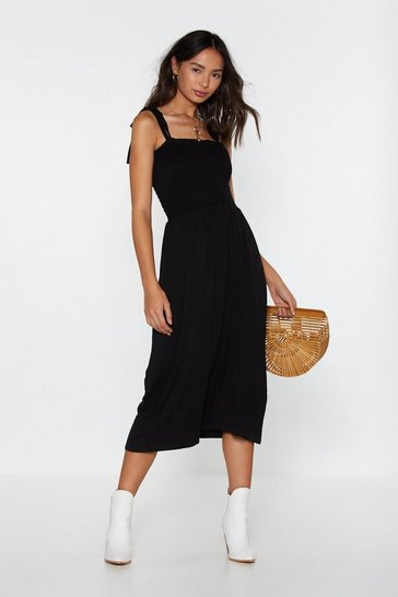 Womens Black Forget What You Shirred Tie Midi Dress