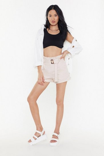 Womens Ecru In the Bag Paperbag Shorts