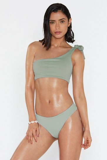 Womens Sage One Last Chance Crinkle One Shoulder Bikini Set