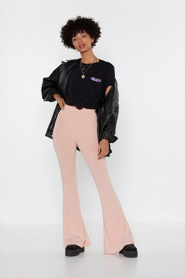 Womens Nude Let Your Flare Down Ribbed High-Waisted Trousers