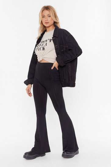 Womens Black Let Your Flare Down Ribbed High-Waisted Trousers
