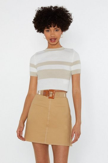 Womens Cream Knits Just Right Striped Crop Top