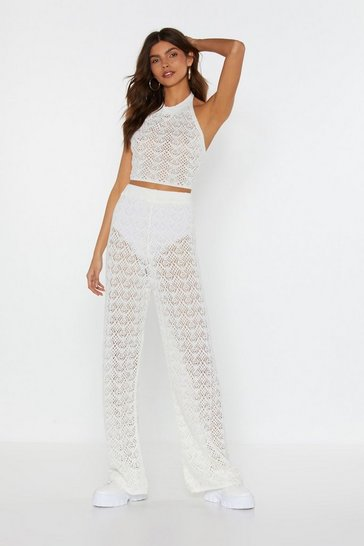 Womens White Ain't No Halter Back Girl Crochet Top and Trousers Set