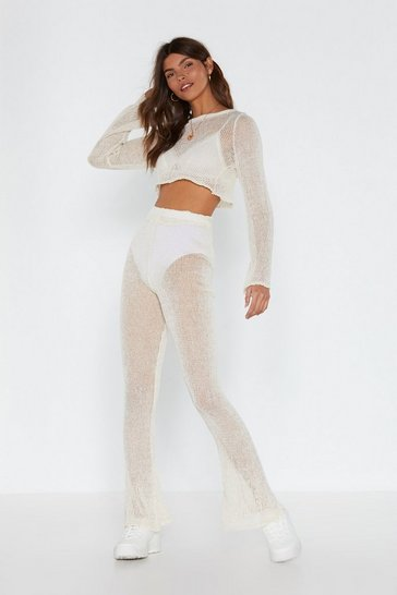 Womens Ecru Catch of the Day Crochet Crop Top and Trousers Set
