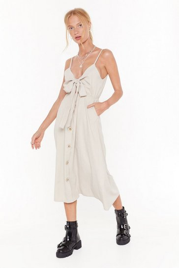 Womens Beige Button the Move Belted Midi Dress