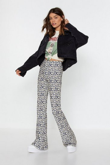 Blue What Springs to Mind High-Waisted Flare Pants