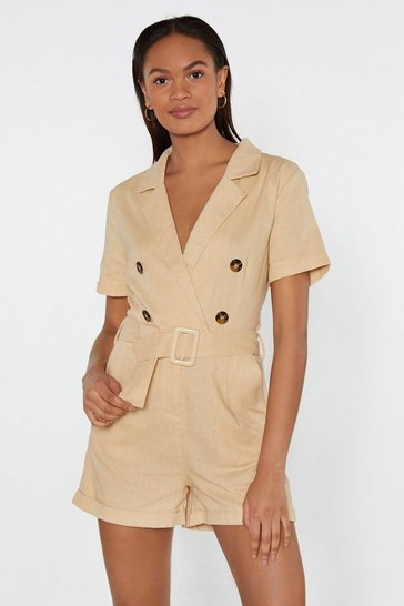 Beige You've Got to Be in It Belted Linen Romper
