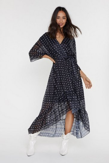Womens Black Dotting Against Me Polka Dot Maxi Dress