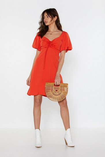 Womens Coral Go With the Flow Puff Sleeve Mini Dress