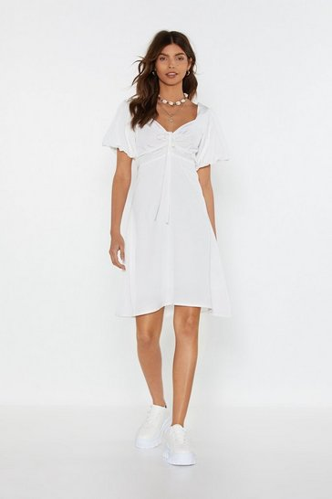 Womens White Amp It Up Lace-Up Puff Dress
