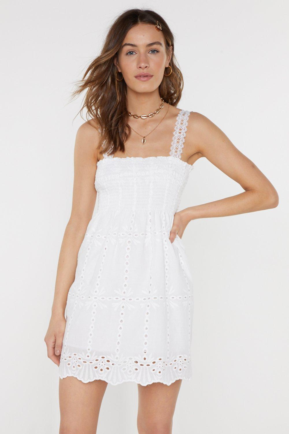 Summertime Sadness Square Neck Broderie Dress