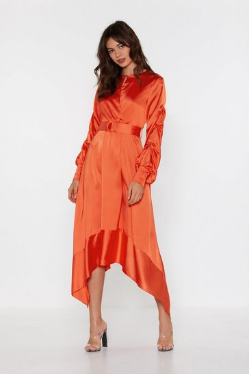 Womens Orange Finishing Touch Satin Belted Dress