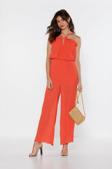 Womens Orange Plissé Don't Stop the Music Wide-Leg Jumpsuit