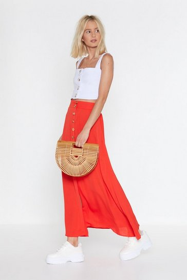 Womens Orange Tumbling Down Button-Down Maxi Skirt