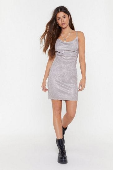 Womens Rose The Life of the Party Glitter Cowl Dress