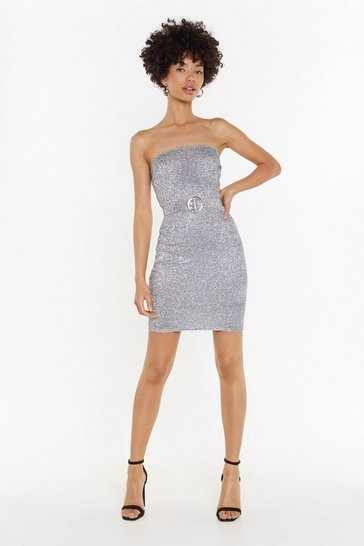 Womens Silver Shake Your Groove Thing Glitter Strapless Dress