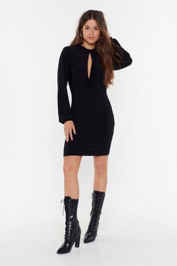 Womens Black Through the Keyhole Mini Dress