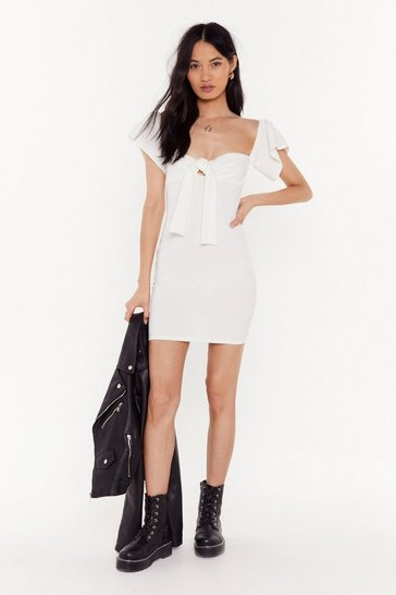 Womens Ivory We Won Fair and Square Tie Mini Dress