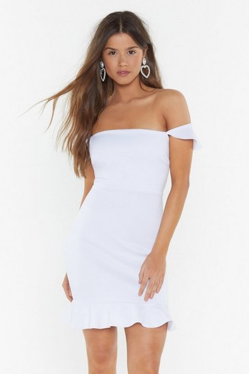White No Ties Ruffle Mini Dress