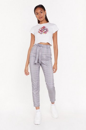 Womens Grey Plaid and Simple Tapered Pants