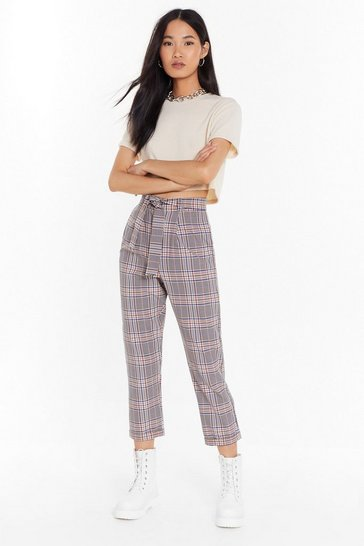 Womens Pink Check Your Facts High-Waisted Pants