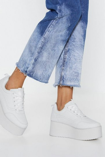 Womens White Elevated Flatform Lace Up Side Stripe Trainers