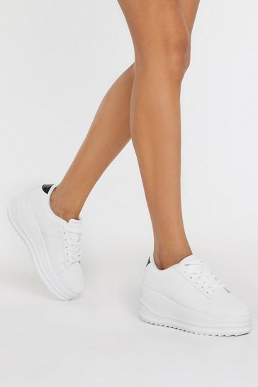 White As High as Slope Platform Sneakers