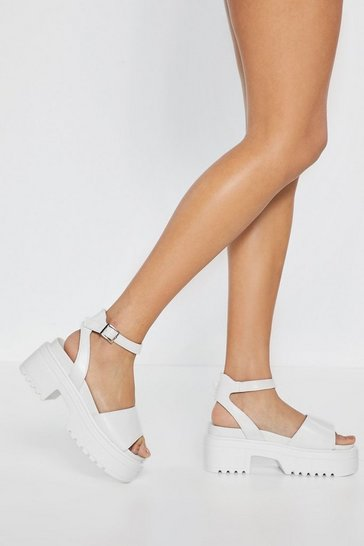 White Big You Up Platform Sandals