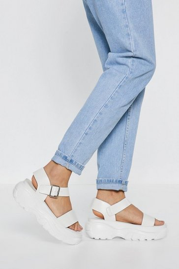 Womens White Strappy and You Know It Chunky Platform Sandals
