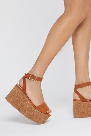 Womens Tan Standing on the Top Cork Platform Wedges
