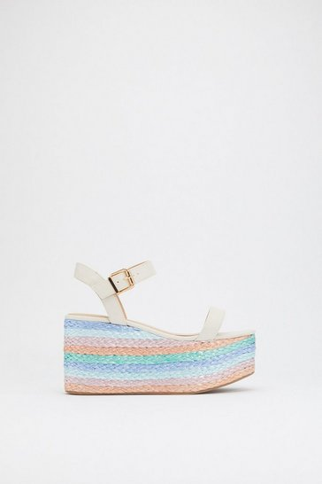 Womens White Bright Idea Woven Multicolored Wedges