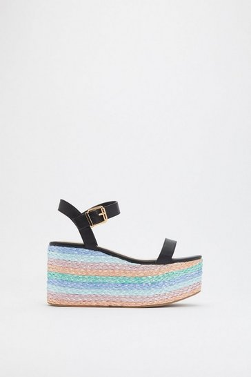 Womens Black Bright Idea Woven Multicolored Wedges