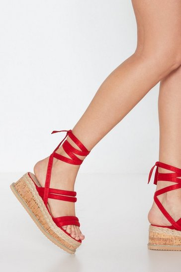 Red Step Outside Tube Wrap Sandals